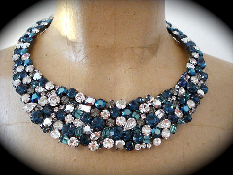 Dark,Blue,Statement,Necklace,statement necklace, bib necklace, crystal necklace, swarovski necklace, dark blue necklace, navy blue statement necklace, Bridal necklace, Wedding necklace, Collar necklace,