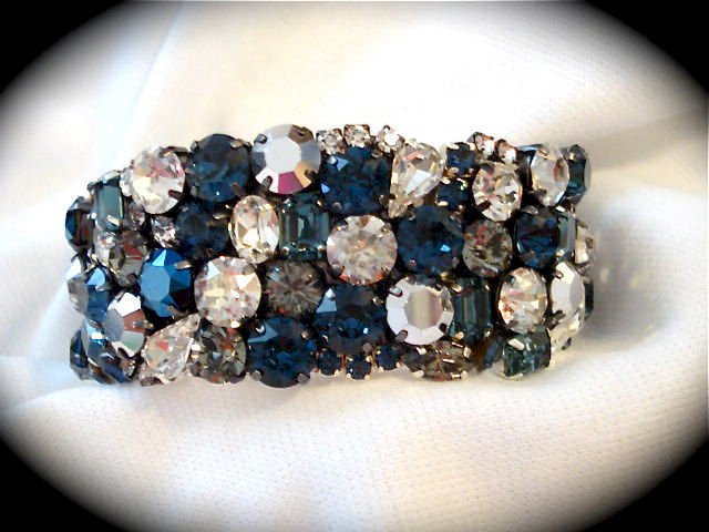 Dark  Blue Bridal Cuff Bracelet - Swarovski Rhinestone Cuff - product images  of