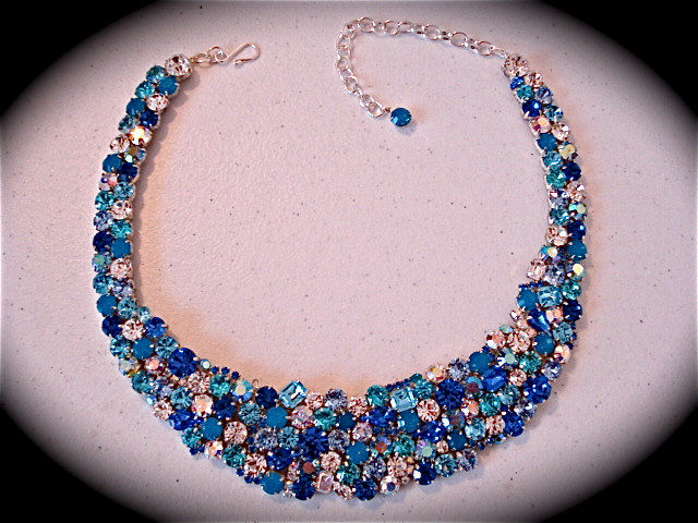 Tropical Blue Crystal Statement Necklace - product images  of