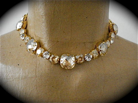 Champagne,Cushion,Cut,Bridal,Necklace,-,Choker,Style,statement necklace, crystal necklace, swarovski crystal necklace, bridal necklace, bridesmaid necklace, champagne necklace