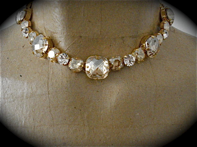 Champagne Cushion Cut Bridal Necklace - Choker Style - product images  of