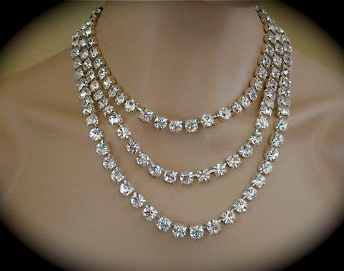 3 Strand Crystal Bridal Statement Necklace, 8mm Silver, Gold, Rose Gold - product images  of