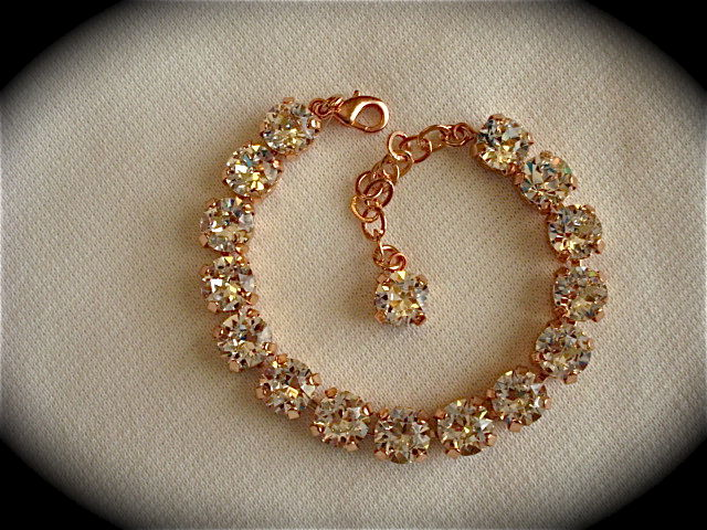 Rose Gold Crystal Bridal Bracelet Bridesmaid Tennis Product Images