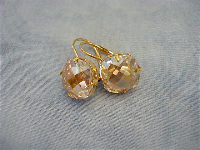 Large Golden Champagne Cushion Earrings, Swarovski 12mm - product images  of