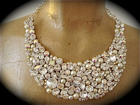Crystal,and,Pearl,Swarovski,Bridal,Statement,Necklace,statement necklace, crystal necklace, swarovski crystal necklace, bridal necklace, pearl and crystal necklace, bib necklace, wedding necklace,