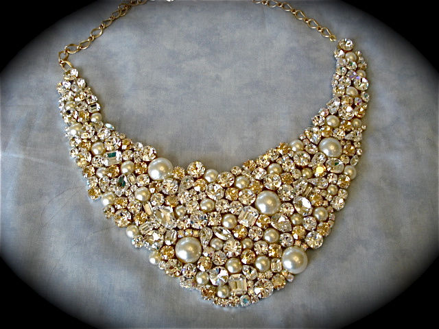 Champagne Crystal and Pearl Wedding Statement Necklace - product images  of