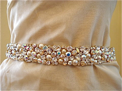 Swarovski,Crystal,and,Pearl,Bridal,Sash,bridal sash, crystal sash, swarovski crystal sash, bridal belt, pearl sash, wedding belt, gold sash