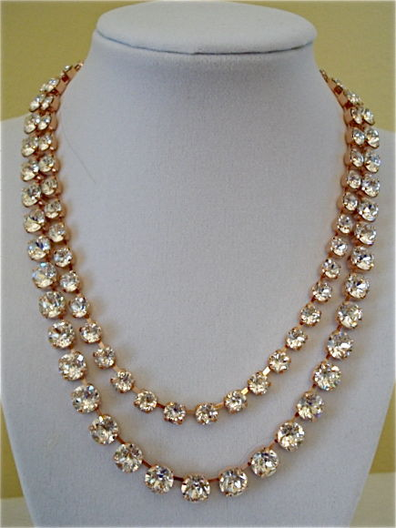 Two Row Swarovski Rose Gold Bridal Necklace with Clear Crystal - product images  of