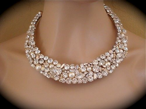 Crystal and Pearl Bridal Statement Necklace - product images  of