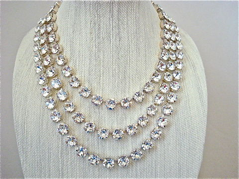 3,Strand,Chunky,Crystal,Bridal,Statement,Necklace,,11mm,statement necklace, crystal necklace, swarovski crystal necklace, bridal necklace, bib necklace, layered necklace