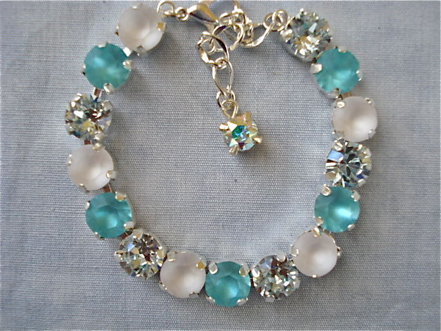 Swarovski Crystal Tiffany Blue Bridesmaid Tennis Bracelet, Aqua Blue Turquoise - product images  of
