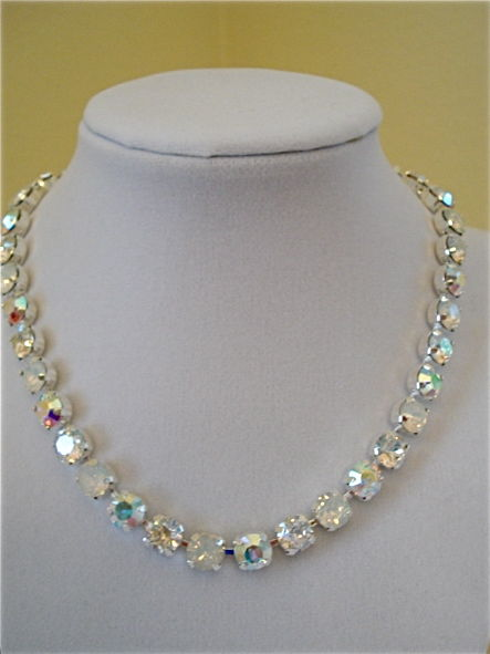 White Opal Ice Crystal Bridal Necklace, Choker Or Princess Length - product images  of