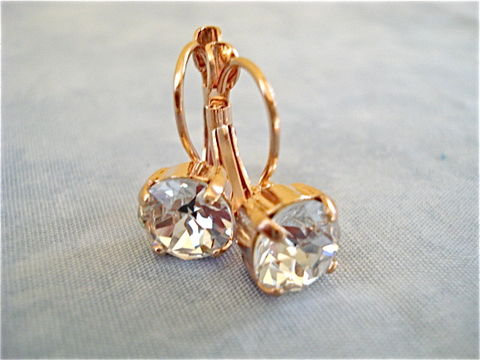 Rose,Gold,Lever,Back,Earrings,-,Clear,Crystal,bridal earrings, crystal earrings, bridesmaid earrings, swarovski earrings, rose gold,  rose gold earrings, rose gold lever back earrings