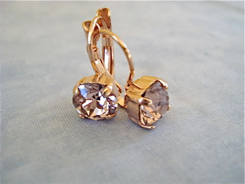 Rose,Gold,Lever,Back,Earrings,-,Vintage,bridal earrings, crystal earrings, bridesmaid earrings, swarovski earrings, rose gold,  rose gold earrings, rose gold lever back earrings