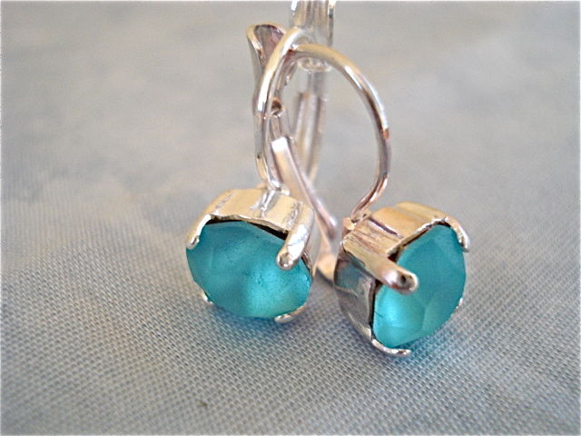 Silver Plated Lever Back Earrings - Tiffany Blue - product images