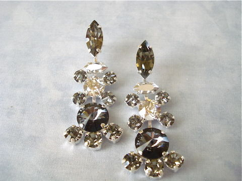 Vintage,Style,Swarovski,Black,Crystal,Chandelier,Earrings,bridal jewelry, bridal earrings, statement earrings, wedding jewelry, black crystal earrings, black bridesmaid earrings, swarovski earrings, bridesmaid gifts, chandelier earrings,  black wedding jewelry, mother of the bride jewelry, vintage style earring
