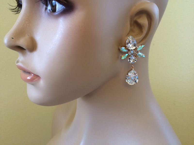 Rose Gold Swarovski Crystal Star Tear Drop Earrings - product images  of