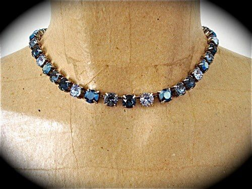 Midnight Blue Bridesmaid Tennis Necklace - Swarovski Crystal - product images  of