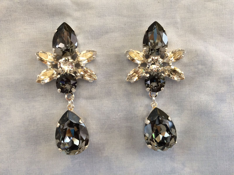 Swarovski Crystal Black Silver Star Tear Drop Earrings - product images  of