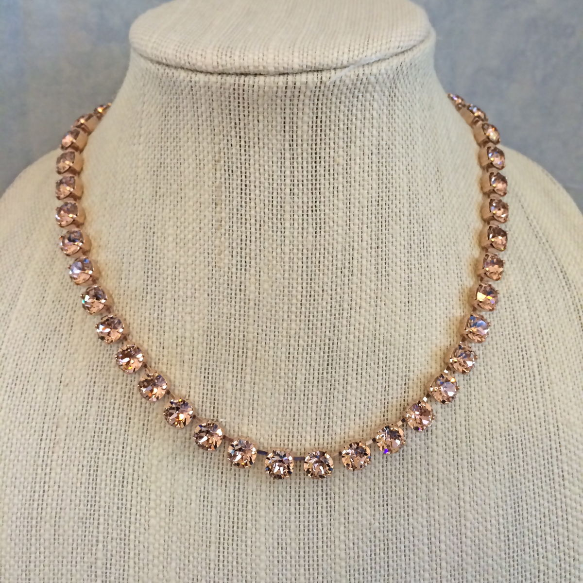 Blush Swarovski Crystal Rose Gold Princess Length Necklace Set The