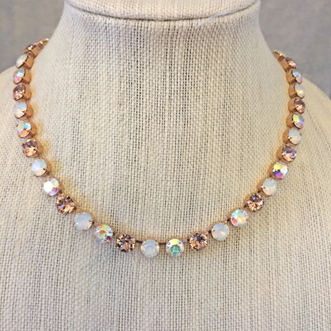 Rose,Gold,Vintage,Opal,Bridesmaid,Necklace,bridal necklace, bridesmaid necklace, swarovski necklace, crystal necklace, tennis necklace, rose gold necklace, vintage rose necklace