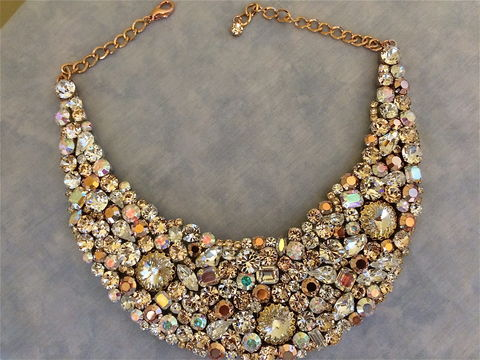 Rose,Gold,Bridal,Statement,Necklace,Rose gold necklace, rose gold statement necklace, rose gold wedding, statement necklace, crystal necklace, swarovski crystal necklace, bridal necklace, bib necklace, champagne necklace, wedding necklace