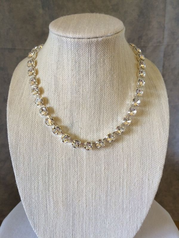 Diamond Cut Crystal Bridal Necklace, 10mm, Choker or Princess Length - product images  of