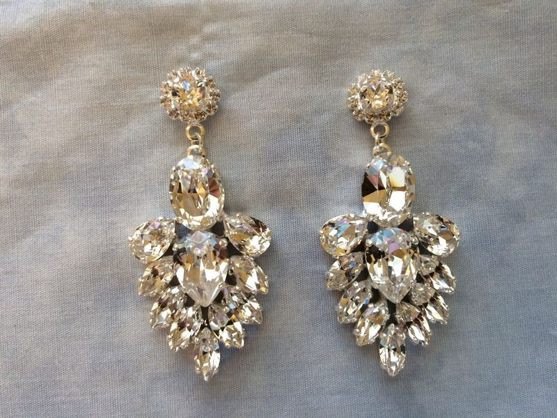 Clear Crystal Bridal Statement Earrings - product images  of
