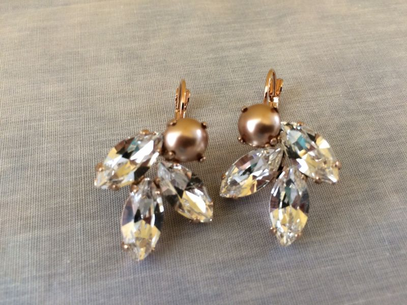 Swarovski Crystal and Rose Gold Pearl Cluster Earrings - product images  of