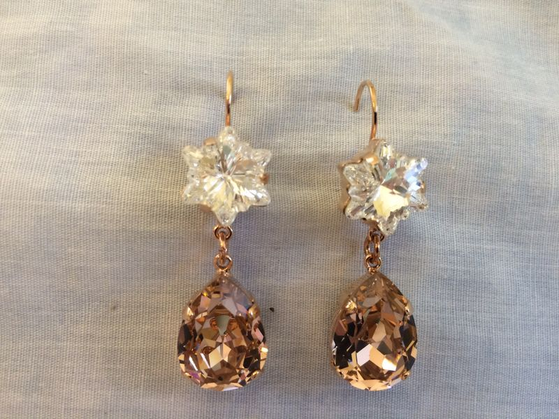 Rose Gold Rose Blush Crystal Flower Teardrop Earrings - product images  of