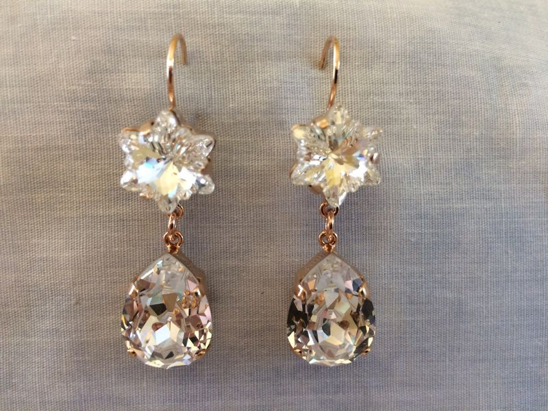 Clear Crystal Flower Teardrop Earrings - product images  of