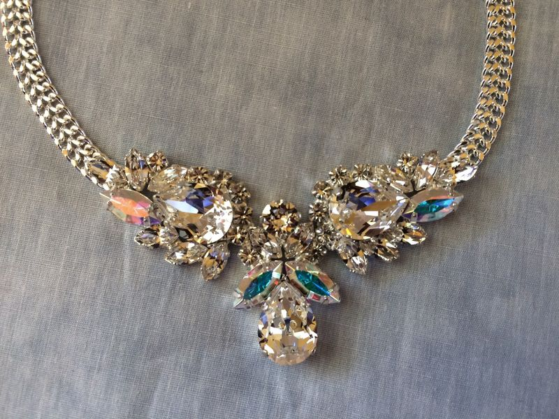 Clear Crystal Bridal Teardrop Bib Necklace - product images  of