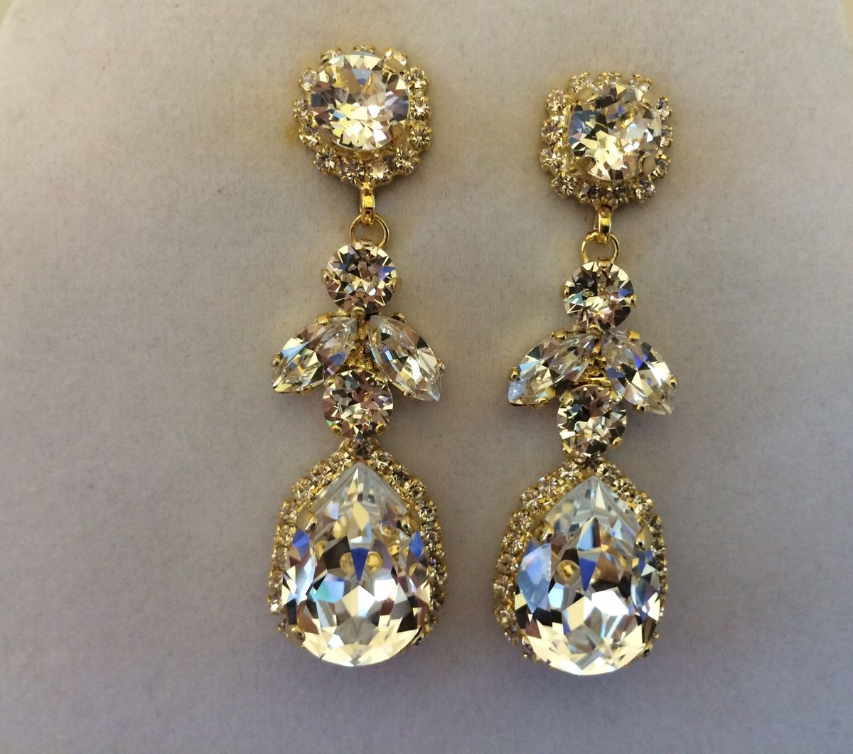 Swarovski Crystal Embellished Teardrop Dangle Earrings
