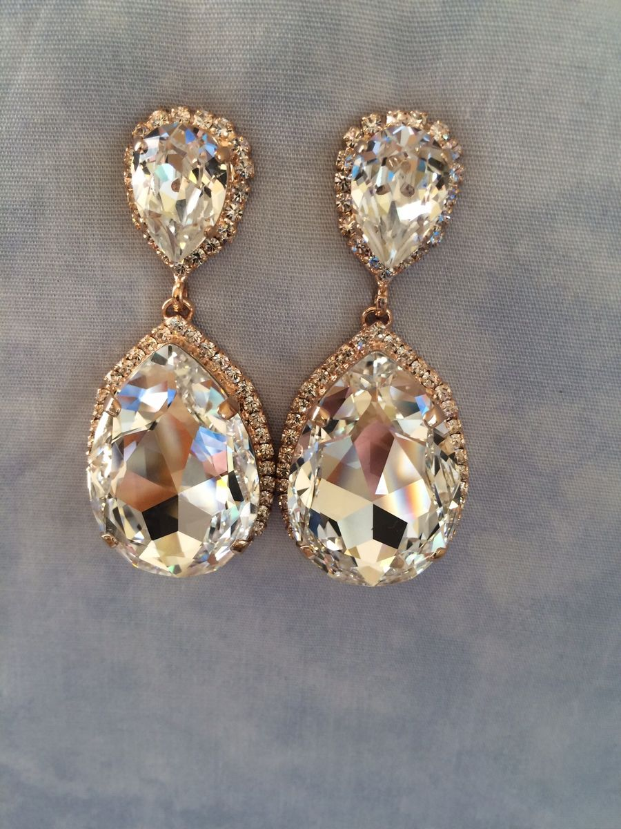 Rose Gold Swarovski Crystal Embellished Teardrop Earrings