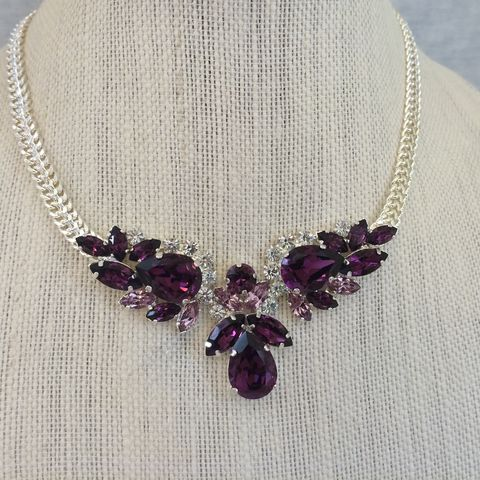 Swarovski,Amethyst,Pendant,Necklace,statement necklace, crystal necklace, swarovski crystal necklace, bridal necklace, bib necklace,  necklace, rose gold necklace, pendant necklace