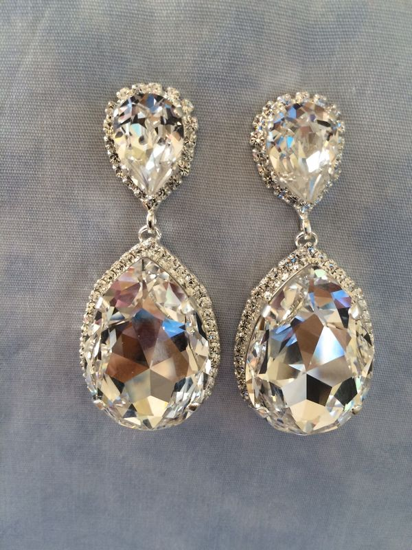 Swarovski Crystal Embellished Teardrop Earrings - silver or gold - product images  of