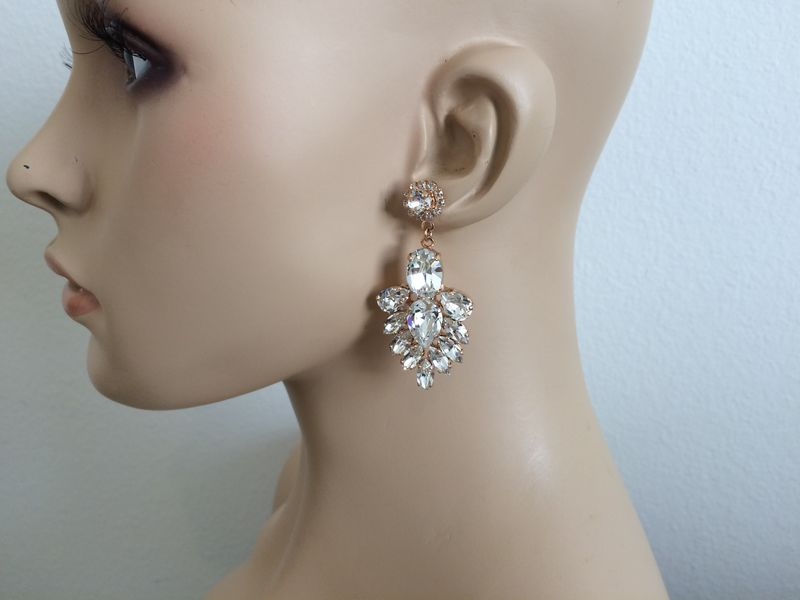 Rose Gold Crystal Bridal Statement Earrings - product images  of