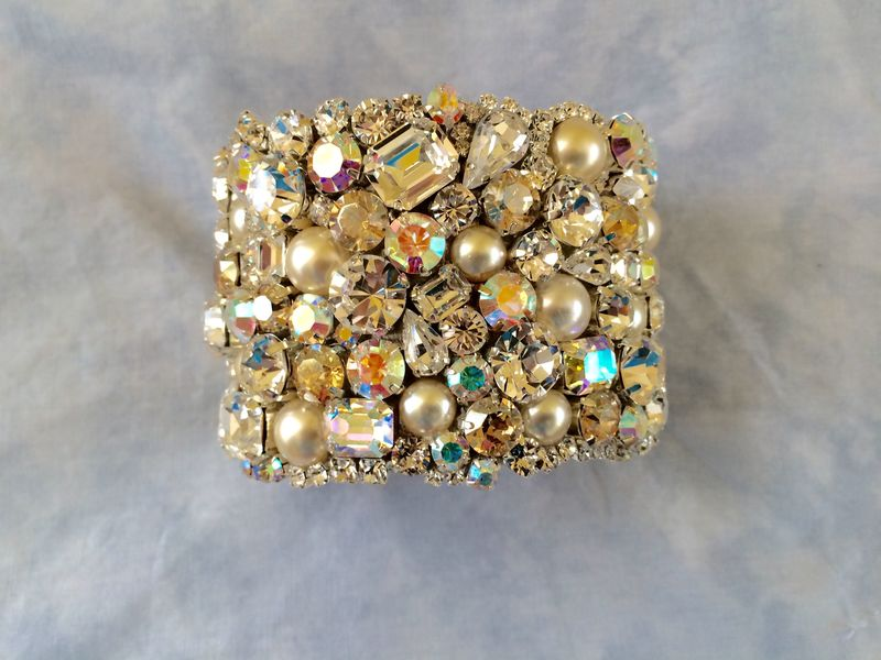 Champagne  Crystal and Pearl Cuff Bracelet - product images  of