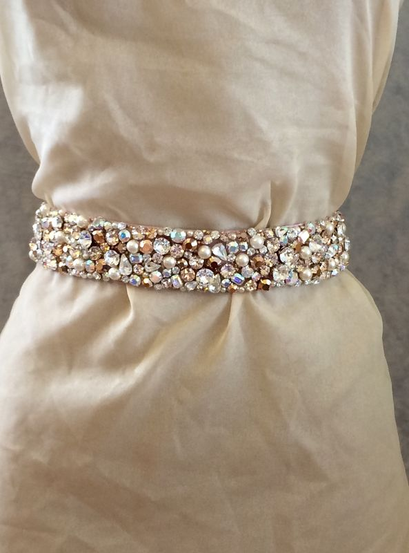 Pearl and Rose Gold Bridal Sash - product images  of