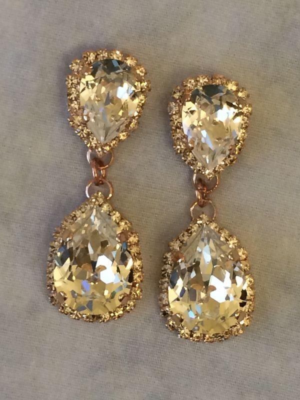 Rose Gold Swarovski Crystal Embellished  Double Teardrop Bridal Earrings  - product images