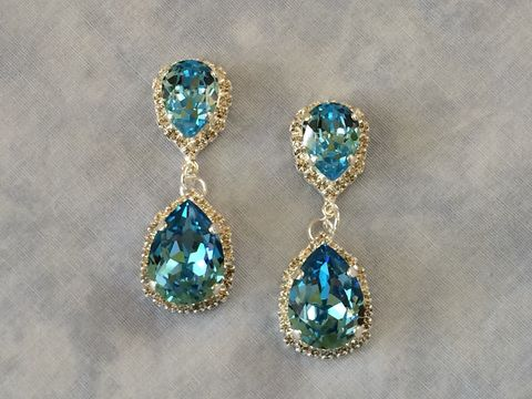 Aqua Swarovski Crystal Embellished Double Teardrop Bridal Earrings