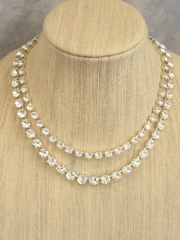Two Strand Clear Swarovski Bridal Necklace - Silver or Gold - product images  of