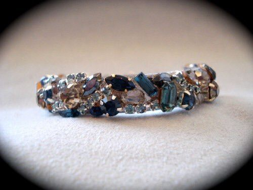 Navy Blue Silver Swarovski Crystal Bridesmaid Cuff - product images  of