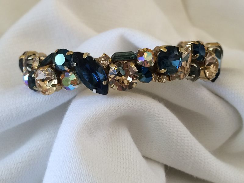 Navy Blue Gold Swarovski Crystal Bridesmaid Cuff - product images