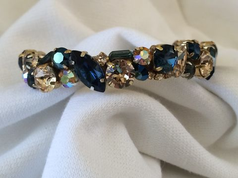 Navy,Blue,Gold,Swarovski,Crystal,Bridesmaid,Cuff,Swarovski bracelet, Navy blue cuff, Bracelet, statement_cuff, crystal_cuff, rhinestone_cuff, bridesmaid_bracelet, dark blue cuff bracelet, thin cuff, wedding bracelet, MOB jewelry, dark blue bracelet, blue and gold bracelet, mother of the bride