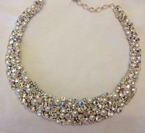 Crystal,and,Pearl,Bridal,Statement,Necklace,Bridal Necklace, swarovski necklace, crystal necklace, swarovski crystal necklace, crystal bib necklace, Collar necklace, wedding statement necklace, crystal and pearl necklace, rhinestone statement necklace