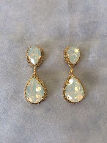 White Opal Swarovski Crystal Embellished Double Teardrop Bridal Earrings