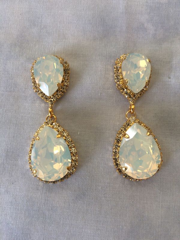 White Opal Swarovski Crystal Embellished  Double Teardrop Bridal Earrings  - product images  of