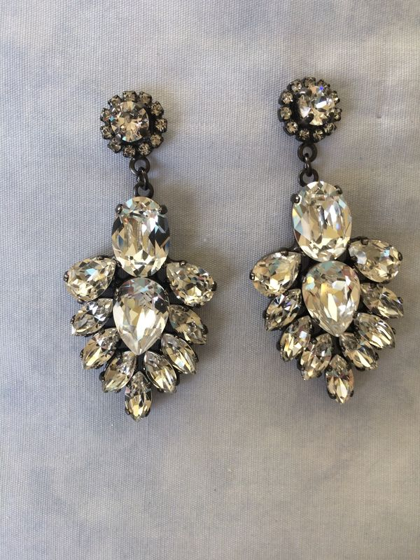 Hematite  Crystal Bridal Statement Earrings - product images  of