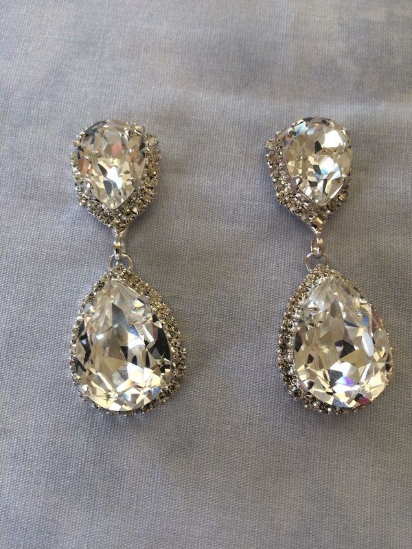 Swarovski Crystal Embellished  Silver Double Teardrop Bridal Earrings  - product images  of